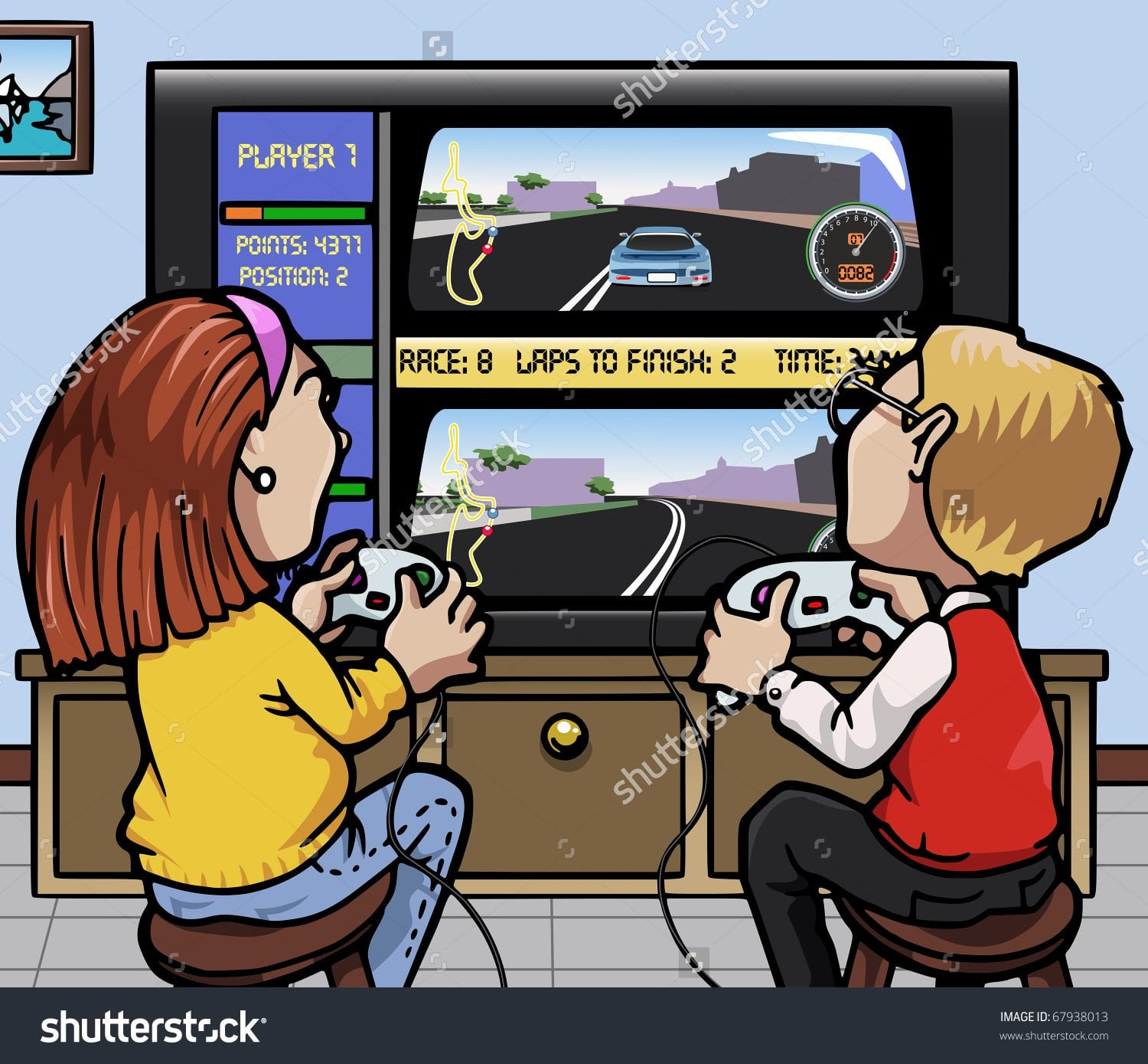 stock-vector-cartoon-style-illustration-two-kids-one-girl-one-boy-playing-a-car-racing-video-game-on-a-huge-67938013