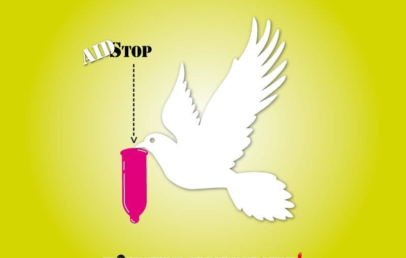 A white pigeon carrying condom