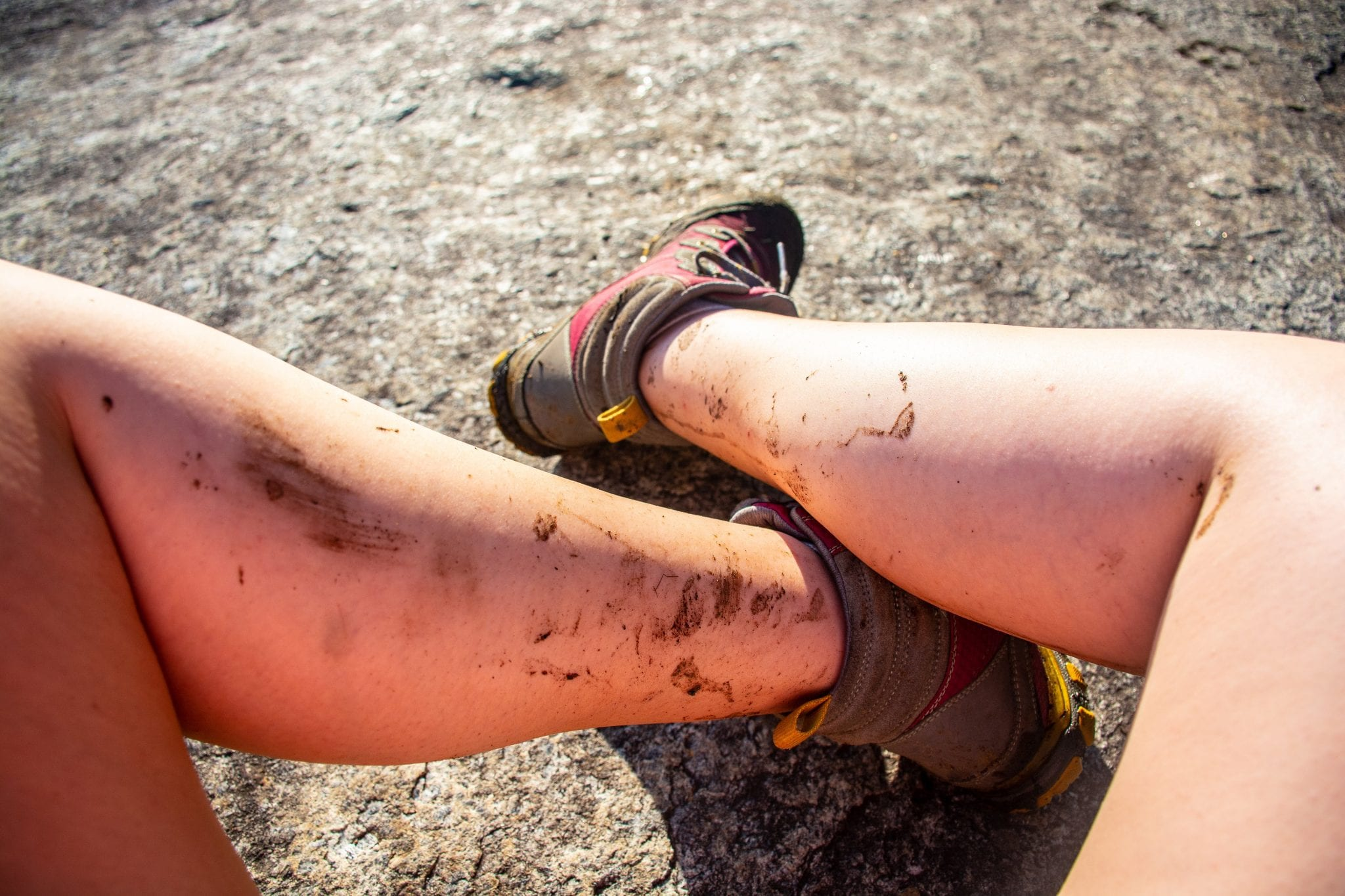 Legs splattered with mud