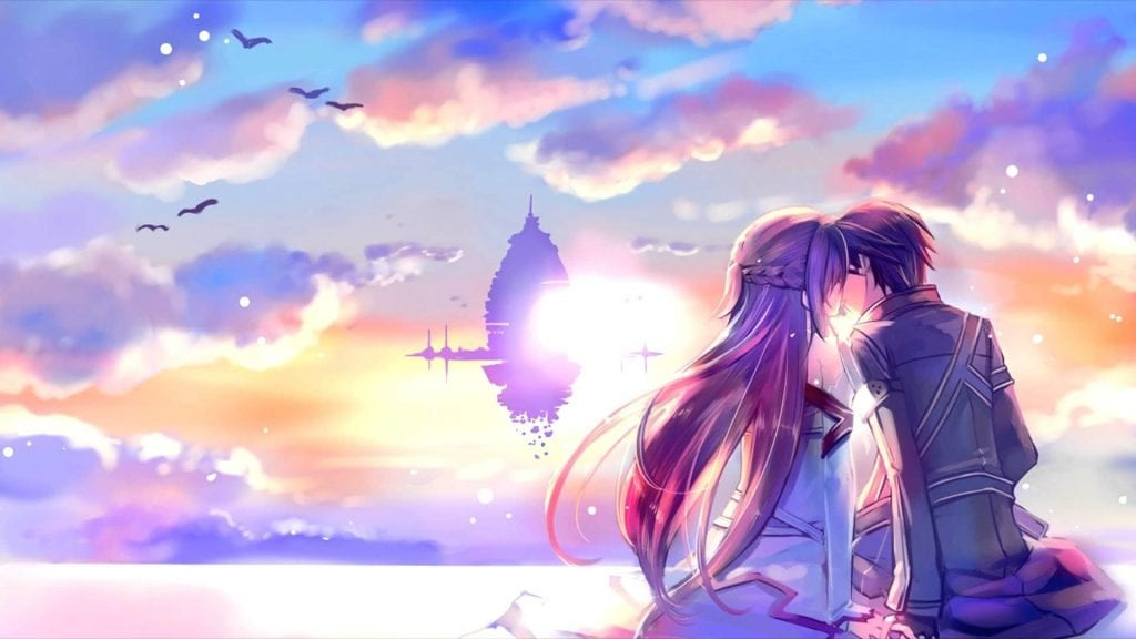 Manga image of lovers kissing