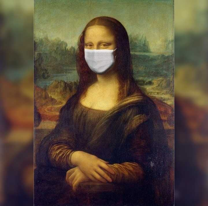 modified painting of Monalisa with a surgical mask