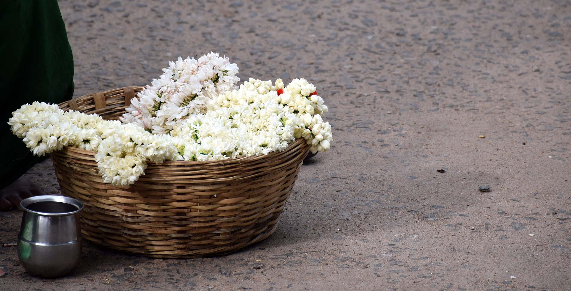 a basket of flowers in Madurai